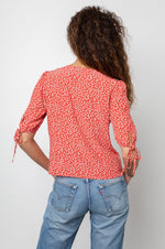 Load image into Gallery viewer, Amelia Shirt in Carmine Daisies