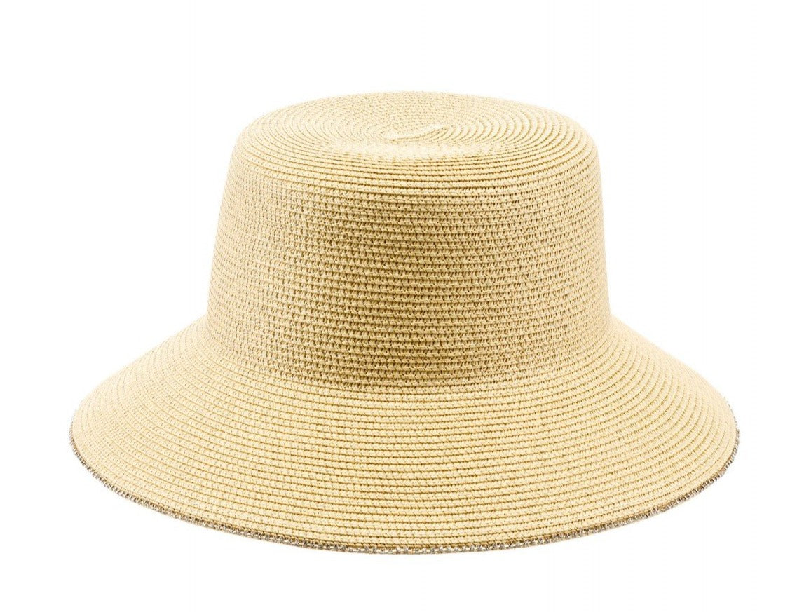 Adjustable Sun Hat with Jeweled Trim in Beige