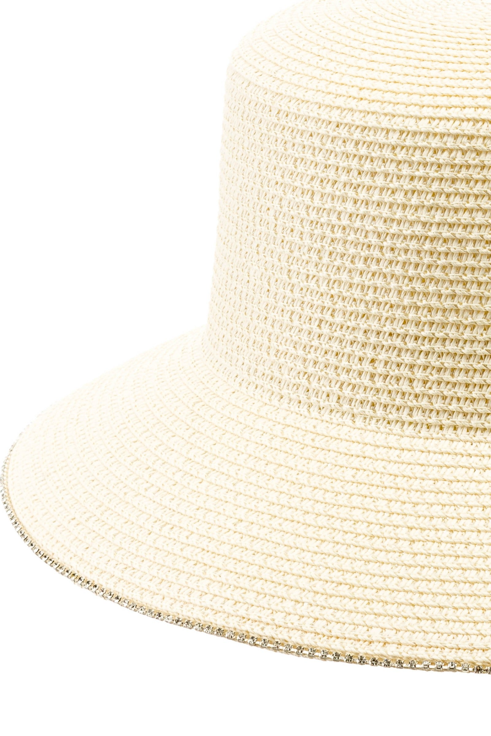 Adjustable Sun Hat with Jeweled Trim in White