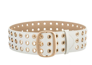 Thick Grommet Faux Leather Belt in White