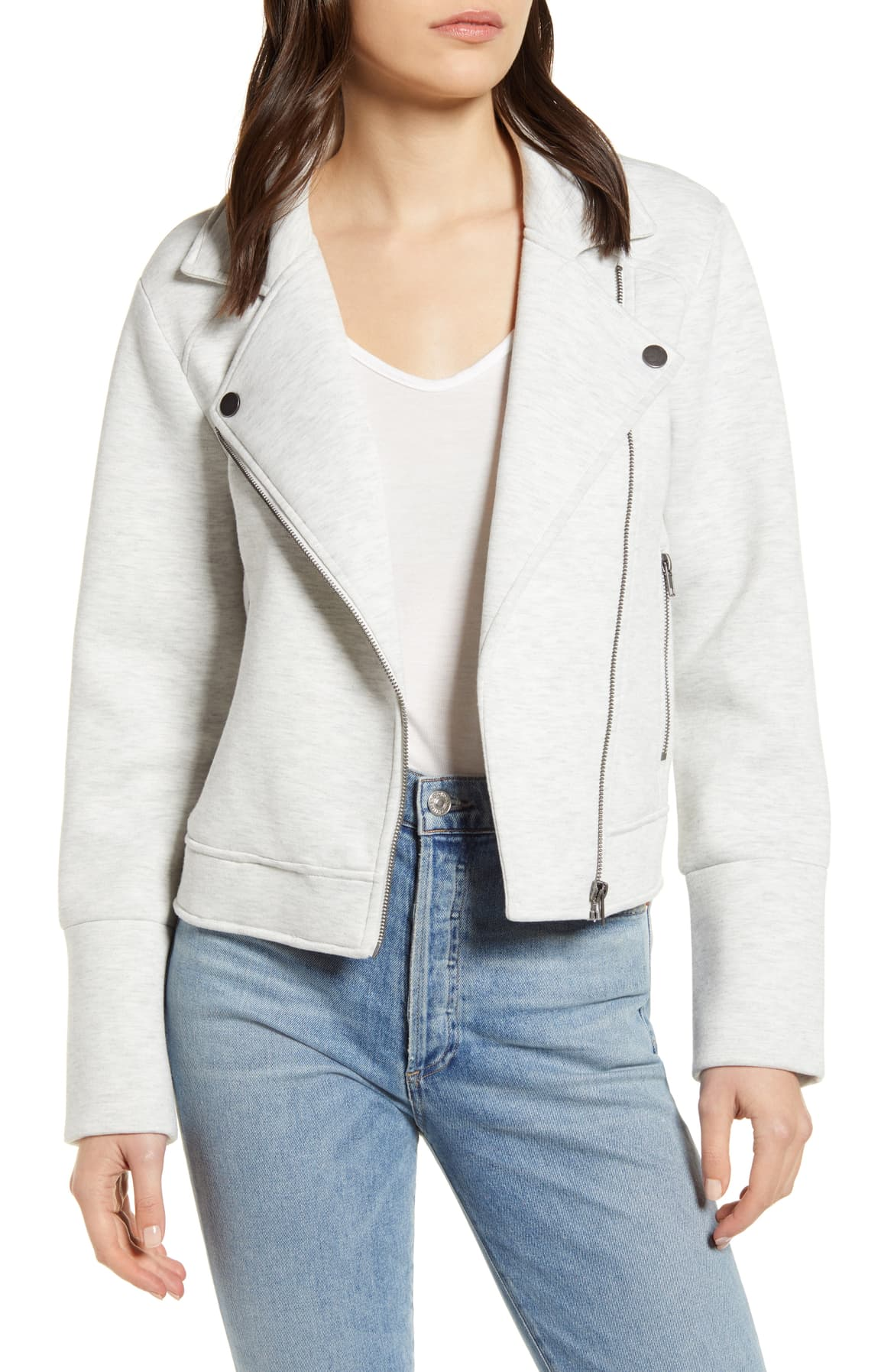 Anabelle Knit Moto Jacket in Heather Ash