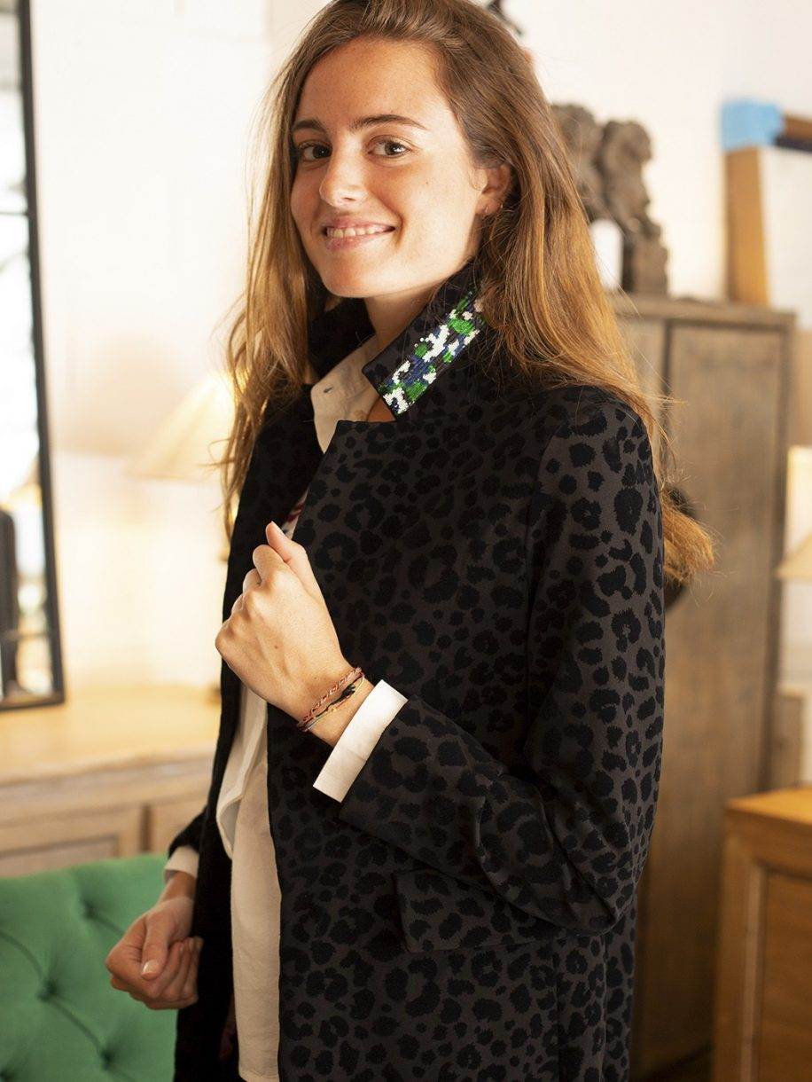 Antonet Flocked Jacket in Black
