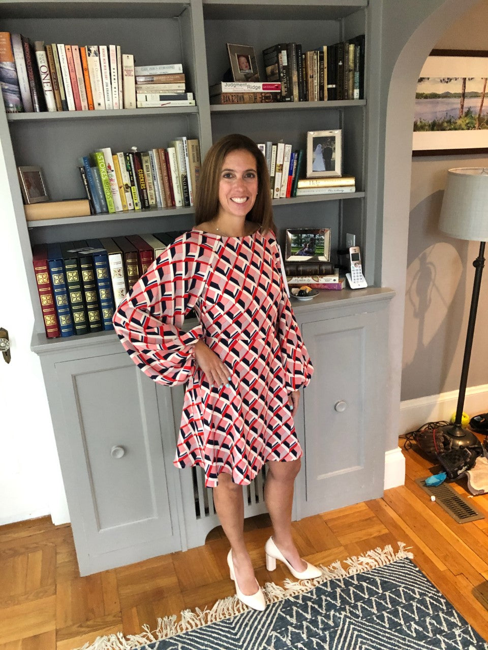 Audrey Dress in Geometric Red Print