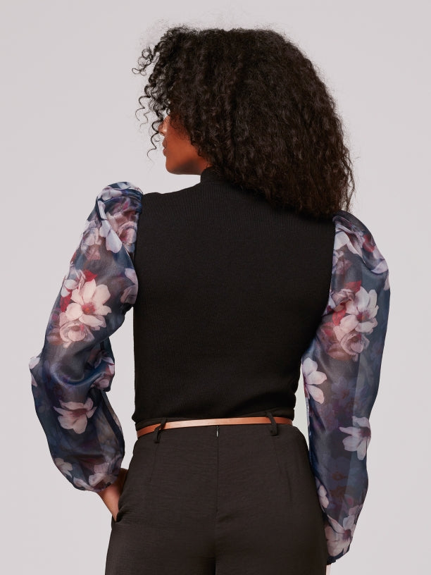 Printed Organza Sleeve Top in Black