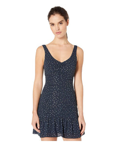 Flounce Woven Dress in Dark Navy