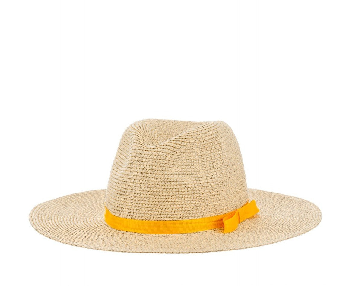 Straw Fedora With Ribbon in Beige