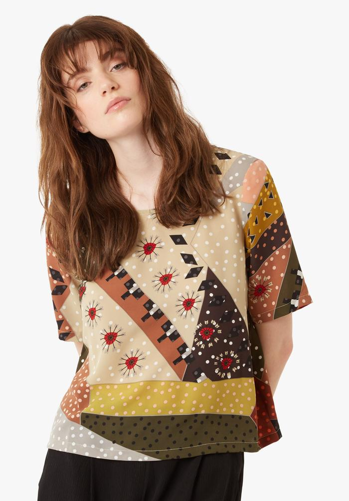 Blowin Top in Patchwork Multi