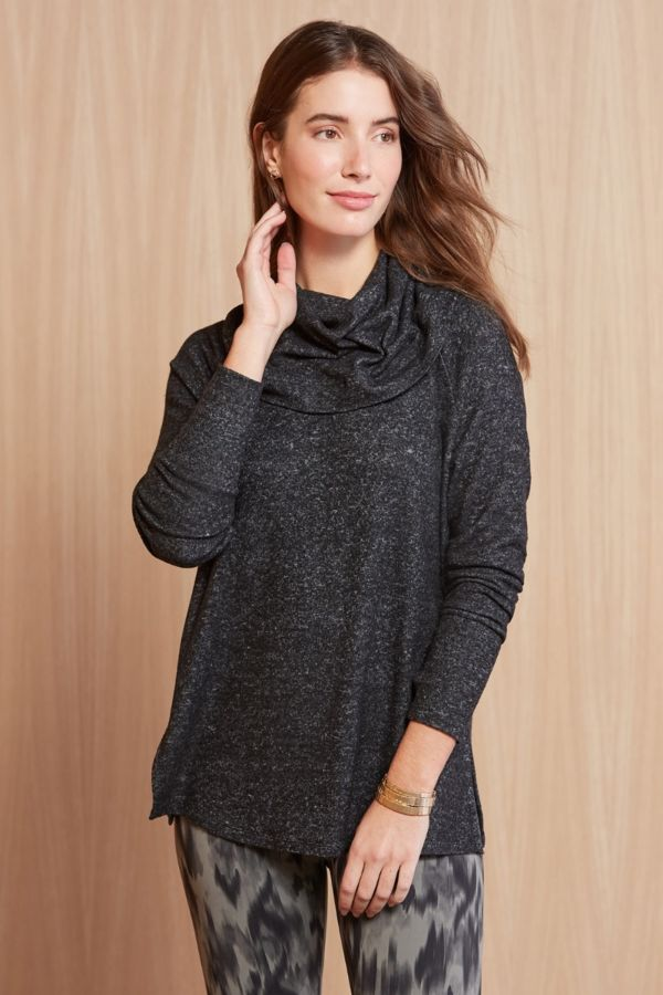 Cowl Me Maybe Tunic in Black Brushed Marl