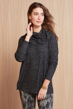 Load image into Gallery viewer, Cowl Me Maybe Tunic in Black Brushed Marl