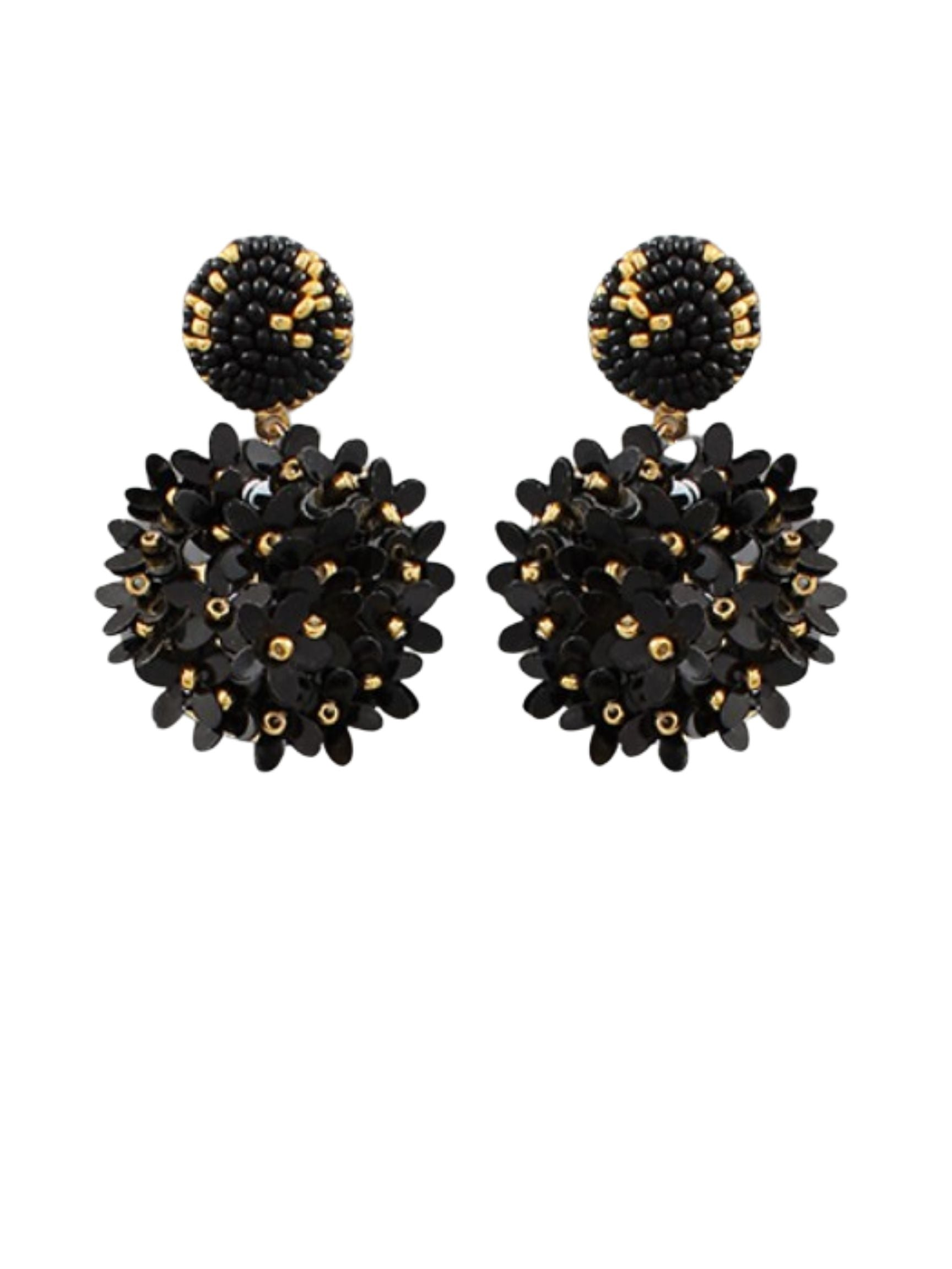 Sequin Blossom Earring in Black Combo