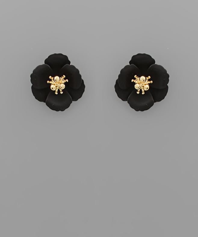 Small Flower Stud with Gold Center in White