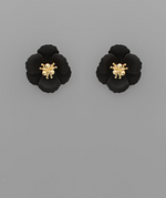 Load image into Gallery viewer, Small Flower Stud with Gold Center in White
