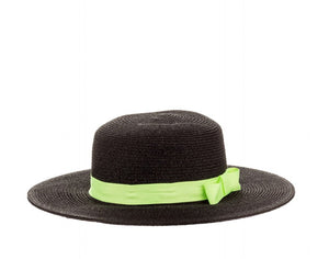 Structured Sun Hat with Ribbon in Black