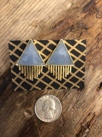 Load image into Gallery viewer, Triangle Sun Earrings in Blue Chalcedony