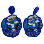 Load image into Gallery viewer, Beaded Flower Statement Earring in Cobalt Combo