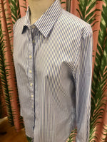 Load image into Gallery viewer, Rochelle Behrens The Boyfriend Shirt in Blue White Stripe