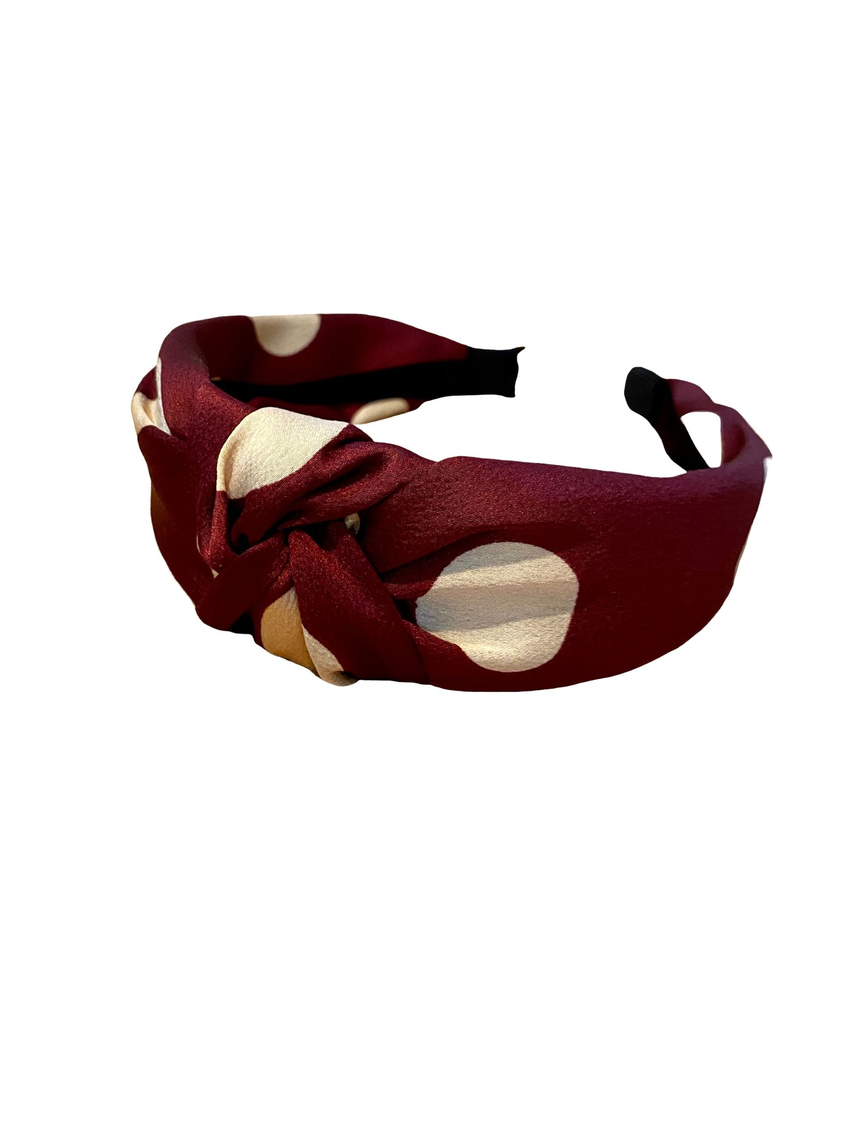 Polka Dot Headband in Burgundy/White