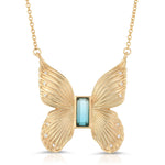 Load image into Gallery viewer, Gem Butterfly Necklace in Blue Tourmaline Quartz