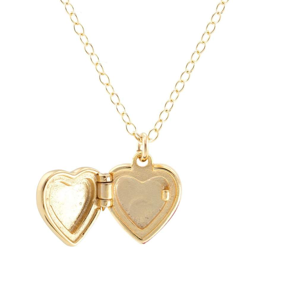 Gold Enamel Heart Locket Necklace in Pink