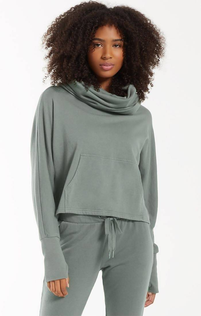 Easy Cowl Top in Ash Green
