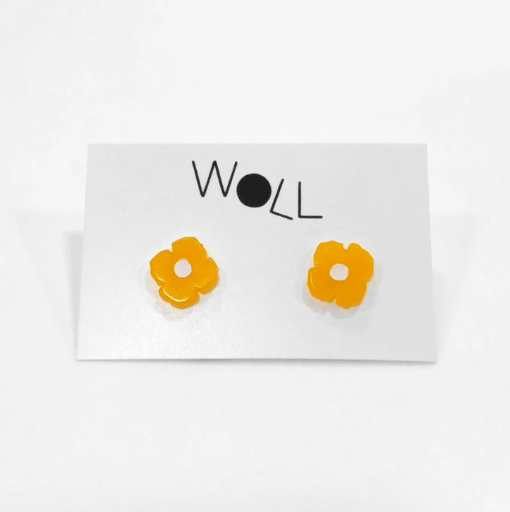 California Poppy Stud Earrings in Melon