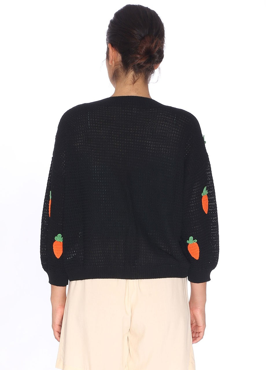 Carrot Patches Cardigan in Black