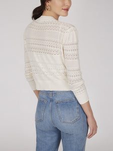 Cotton Pointelle Cardigan in White