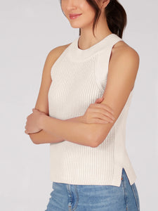 Cotton Sweater Tank in Chalk