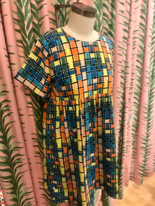 Short Sleeve Checked Dress in Multi