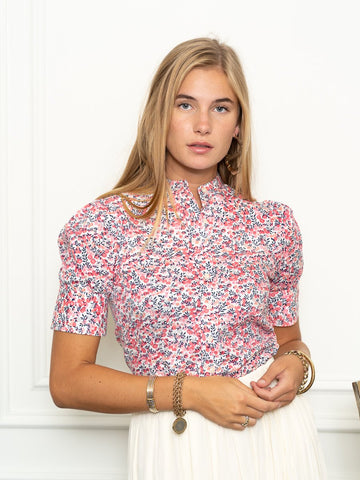 Short Sleeve Puff Shoulder Shirt in Cherry Blossom