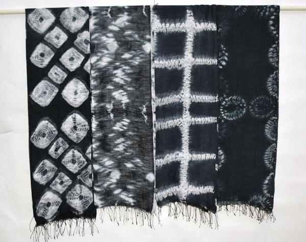 Shibori Tie Dye Silk Scarf in Black Pattern #1