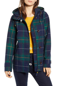 Coast Waterproof Rain Jacket in Green Plaid
