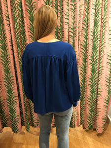 Oversized Deep Notch Neck Blouse in Cobalt