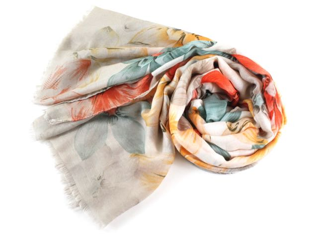 Tahitian Sunrise Floral Scarf in Tan