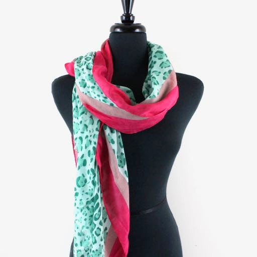 Jaguar Color Block Scarf in Lime