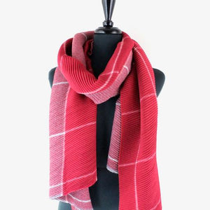 Pleated Windowpane Scarf in Red