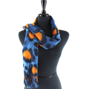 Large Leopard Print Scarf in Blue Combo