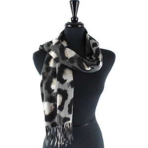 Large Leopard Print Scarf in Grey/White