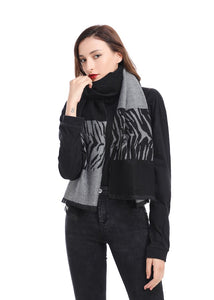 Reversible Tiger Block Scarf in Black