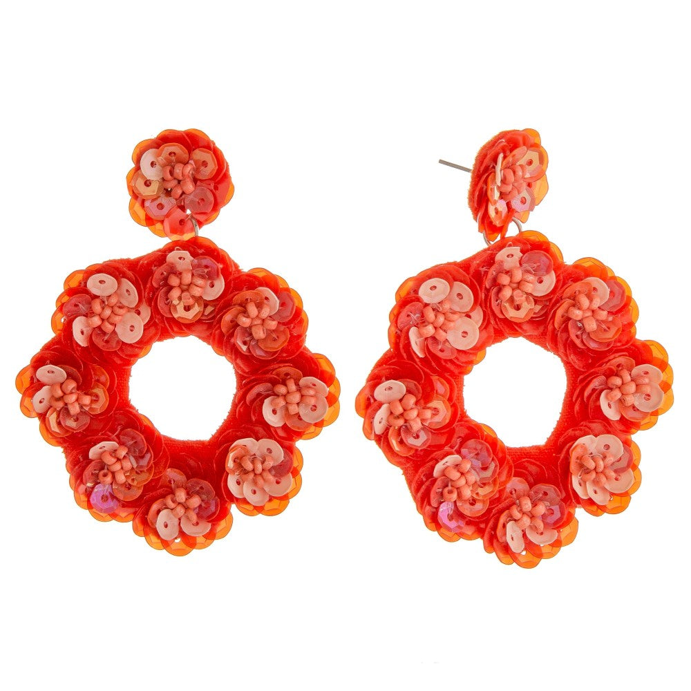 Round Sequin Earring in Coral