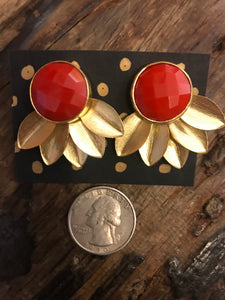 Gold Plated Floral Gemstone Earrings in Orange Coral