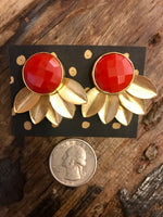 Load image into Gallery viewer, Gold Plated Floral Gemstone Earrings in Orange Coral