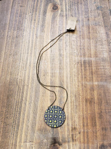 Enamel Necklace with Antiqued Copper Chain in Aqua/Red