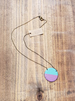 Load image into Gallery viewer, Enamel Necklace with Antiqued Copper Chain in Aqua/Purple