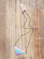 Load image into Gallery viewer, Colorful Enamel Triangle Necklace with Antiqued Copper Chain in Purple