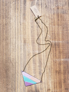 Colorful Enamel Triangle Necklace with Antiqued Copper Chain in Purple