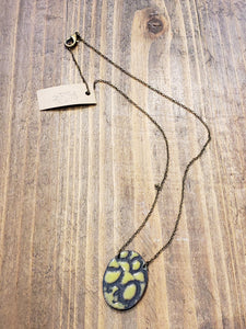 Oval Enamel and Patina Necklace with Antiqued Copper Chain in Chartreuse