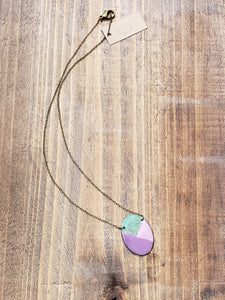 Oval Enamel and Patina Necklace with Antiqued Copper Chain in Purple