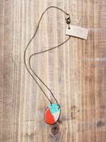 Load image into Gallery viewer, Oval Enamel and Patina Necklace with Antiqued Copper Chain in Red