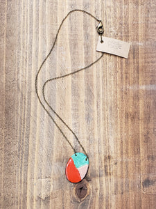 Oval Enamel and Patina Necklace with Antiqued Copper Chain in Red
